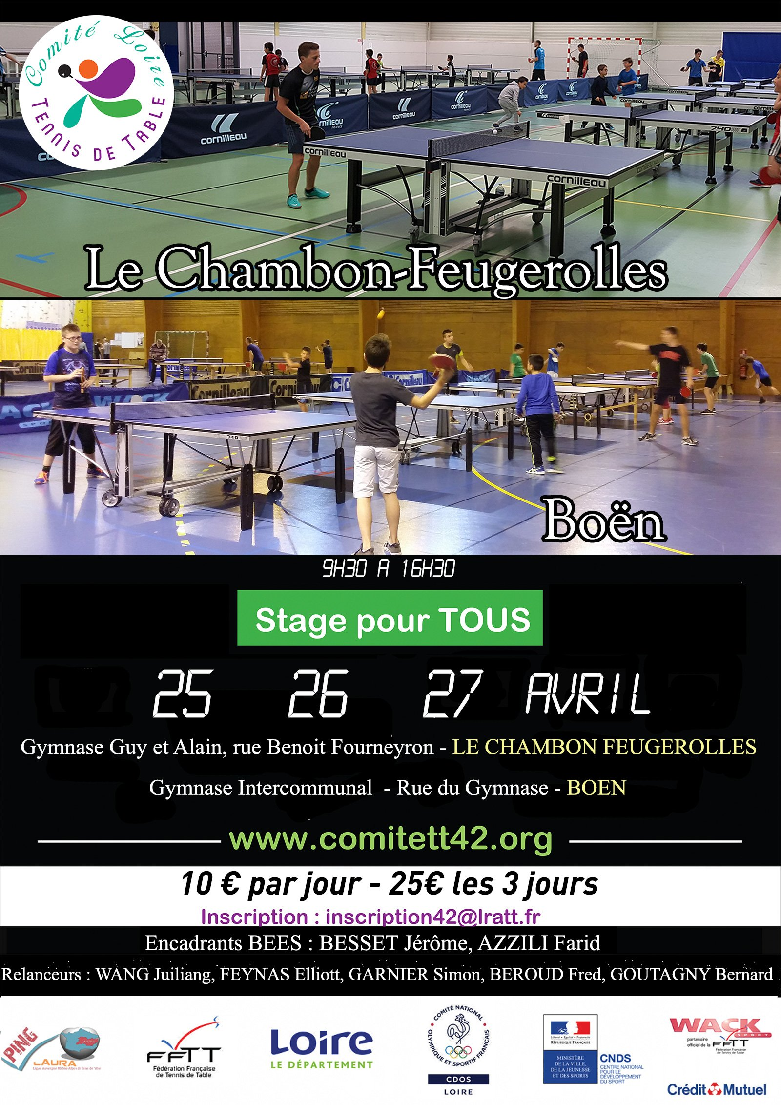 Stages d'Avril du Comité de la Loire de tennis de table