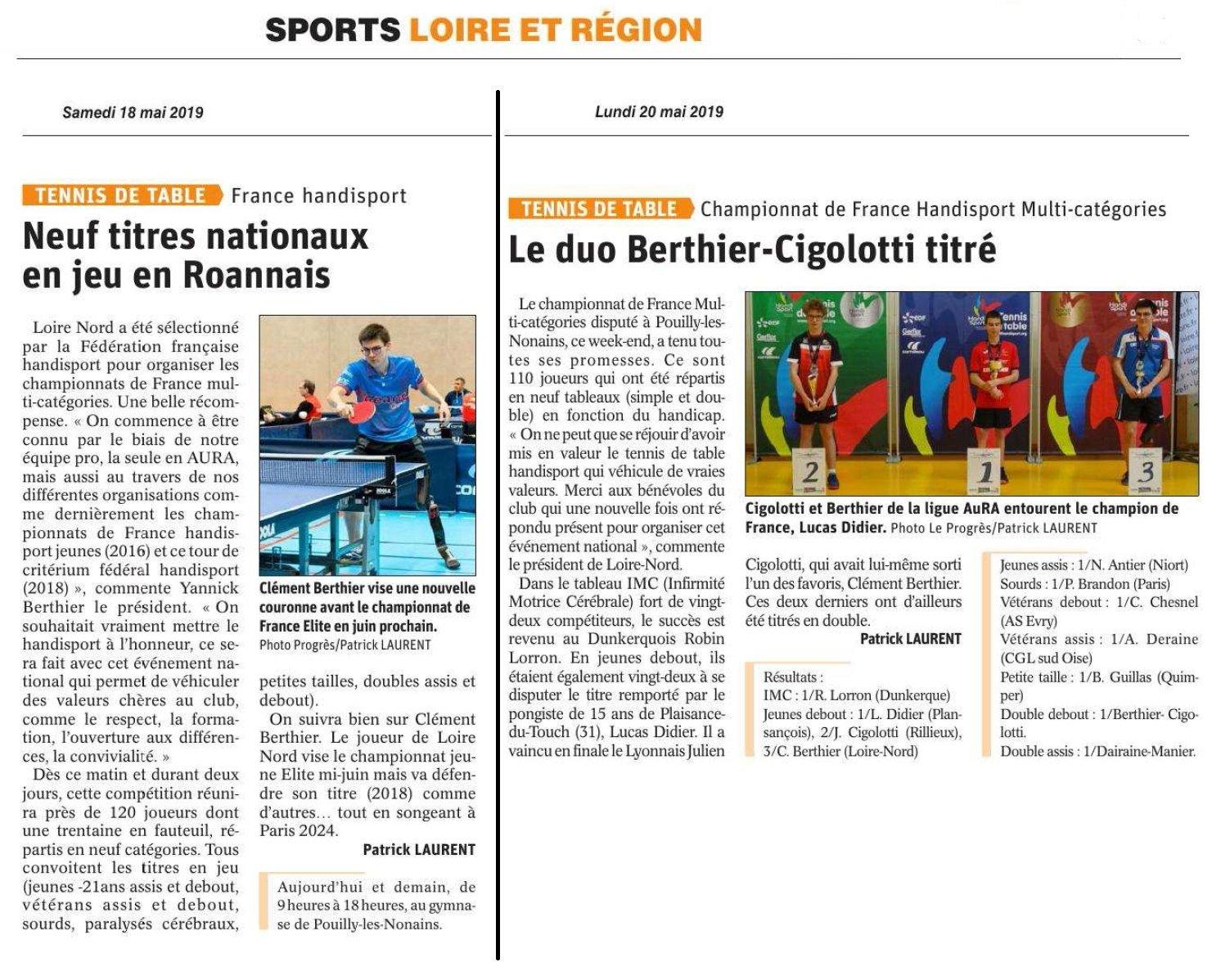Résultats des Championnats de France Handisport